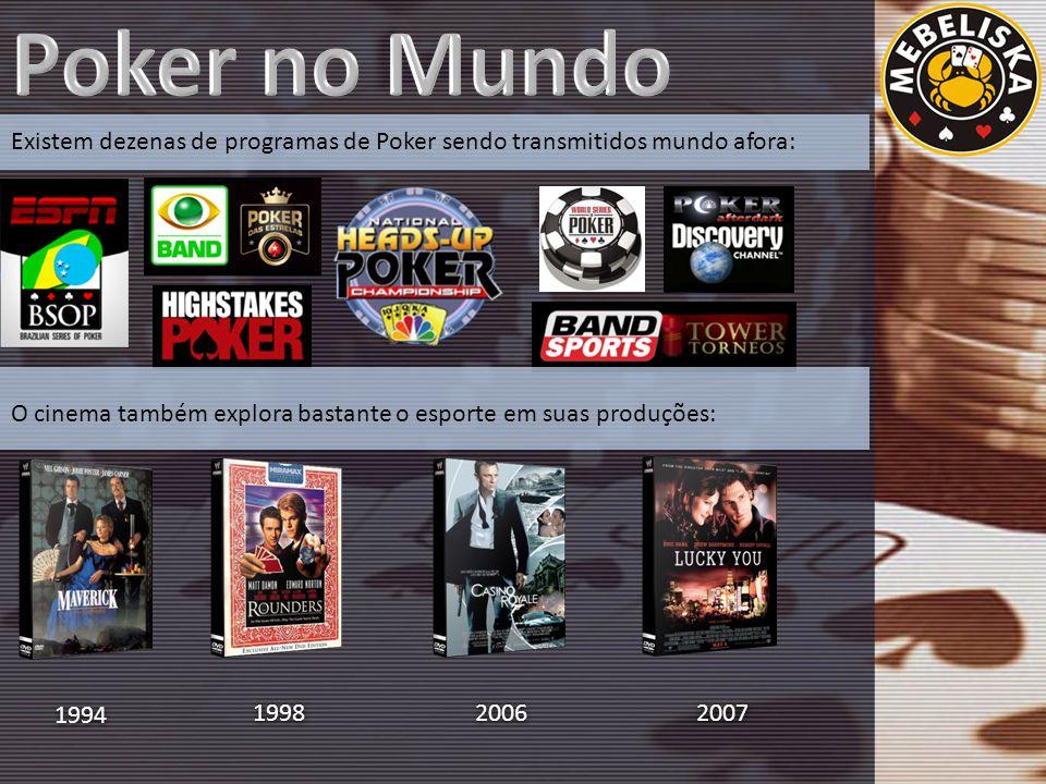 Existem dezenas de programas de Poker sendo transmitidos mundo afora: O cinema também explora bastante o esporte em suas produções: 1994 1998 2006 2007