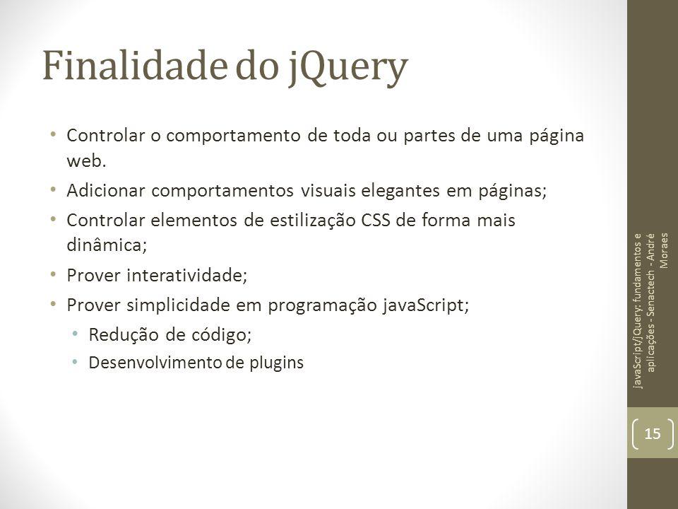 Finalidade do jQuery Controlar o comportamento de toda ou partes de uma página web. Adicionar comportamentos visuais elegantes em páginas; Controlar e