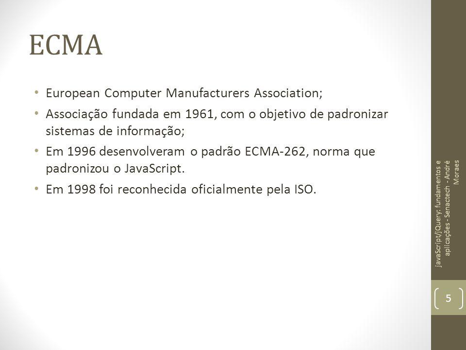 ECMA European Computer Manufacturers Association; Associação fundada em 1961, com o objetivo de padronizar sistemas de informação; Em 1996 desenvolver