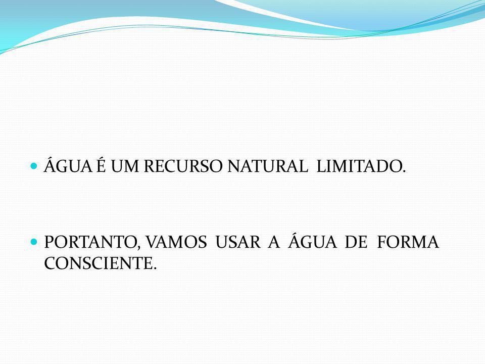 ÁGUA É UM RECURSO NATURAL LIMITADO. PORTANTO, VAMOS USAR A ÁGUA DE FORMA CONSCIENTE.
