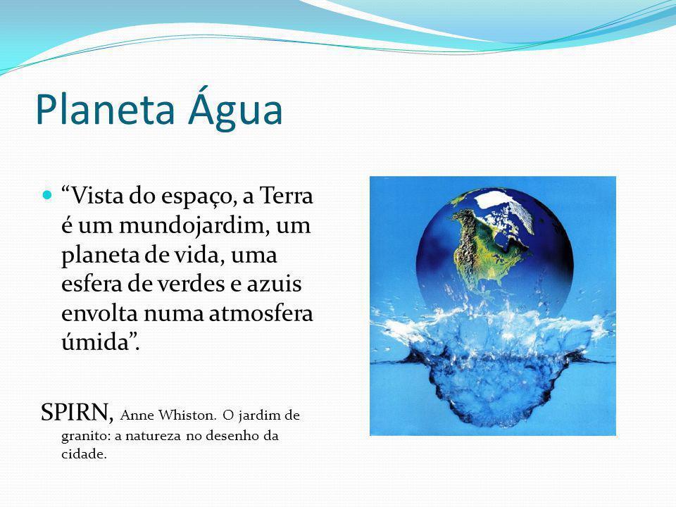 """Planeta Água """"Vista do espaço, a Terra é um mundojardim, um planeta de vida, uma esfera de verdes e azuis envolta numa atmosfera úmida"""". SPIRN, Anne W"""