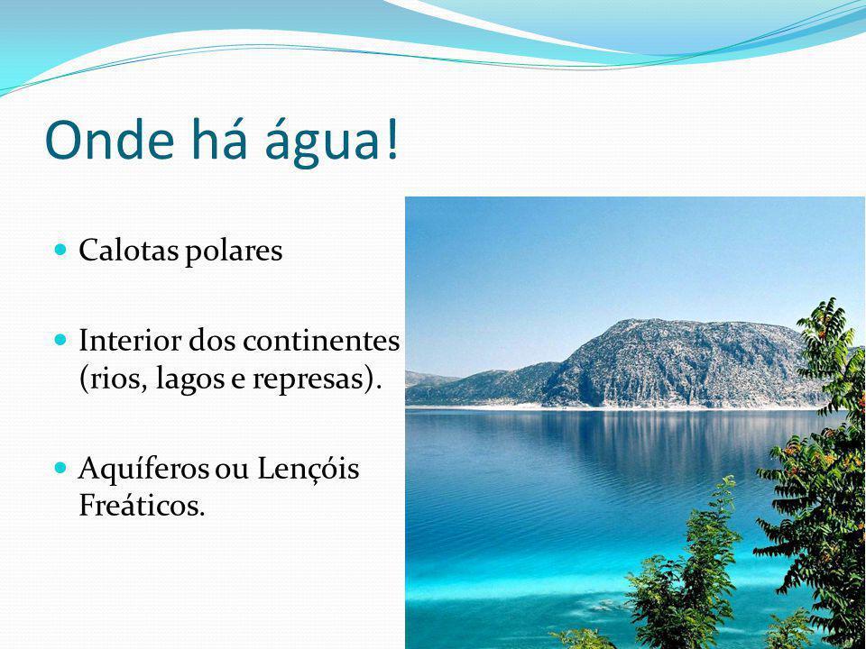 Onde há água! Calotas polares Interior dos continentes (rios, lagos e represas). Aquíferos ou Lençóis Freáticos.