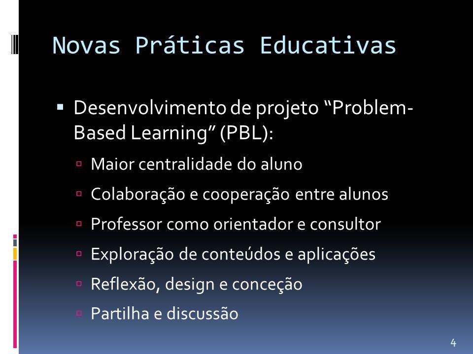 Novas Práticas Educativas  Desenvolvimento de projeto Problem- Based Learning (PBL):  Maior centralidade do aluno  Colaboração e cooperação entre alunos  Professor como orientador e consultor  Exploração de conteúdos e aplicações  Reflexão, design e conceção  Partilha e discussão 4