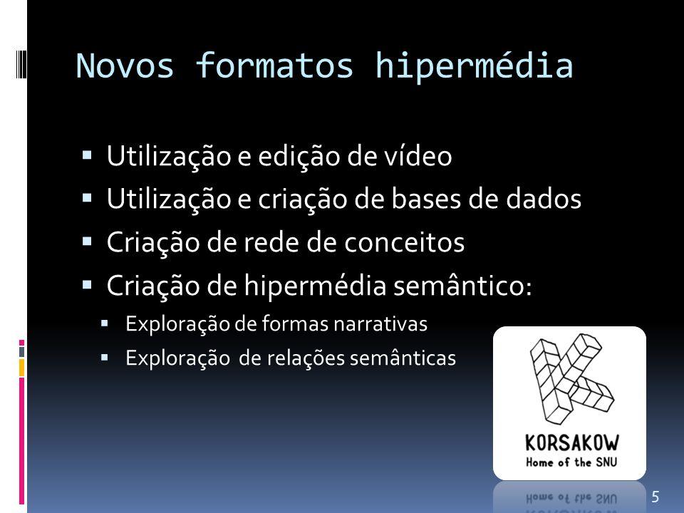 Novos formatos hipermédia  Utilização e edição de vídeo  Utilização e criação de bases de dados  Criação de rede de conceitos  Criação de hipermédia semântico:  Exploração de formas narrativas  Exploração de relações semânticas 5