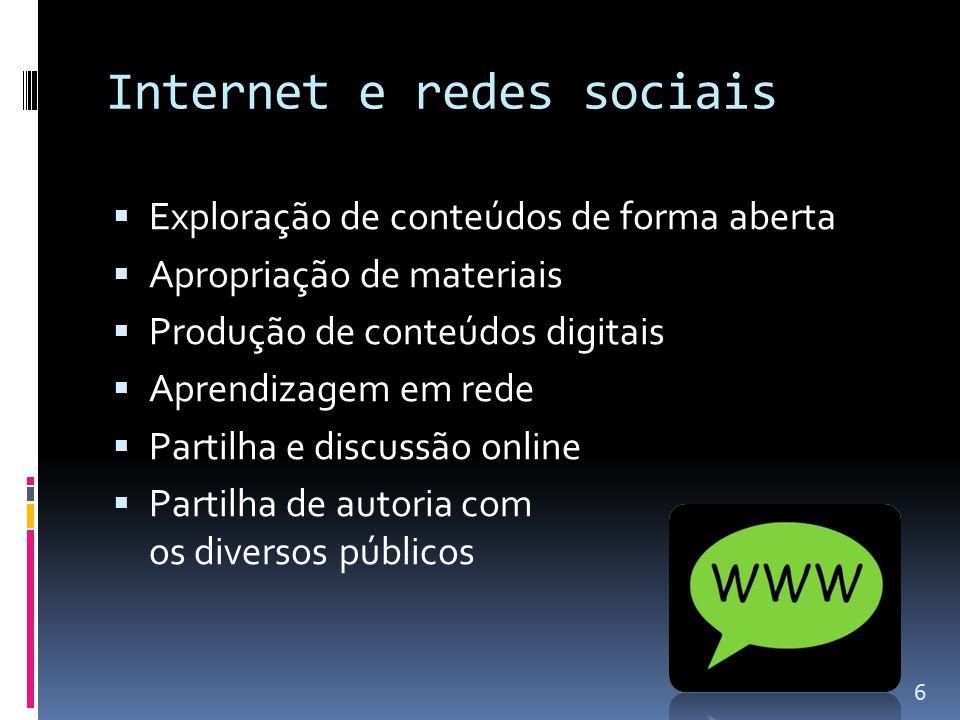 Internet e redes sociais  Exploração de conteúdos de forma aberta  Apropriação de materiais  Produção de conteúdos digitais  Aprendizagem em rede  Partilha e discussão online  Partilha de autoria com os diversos públicos 6