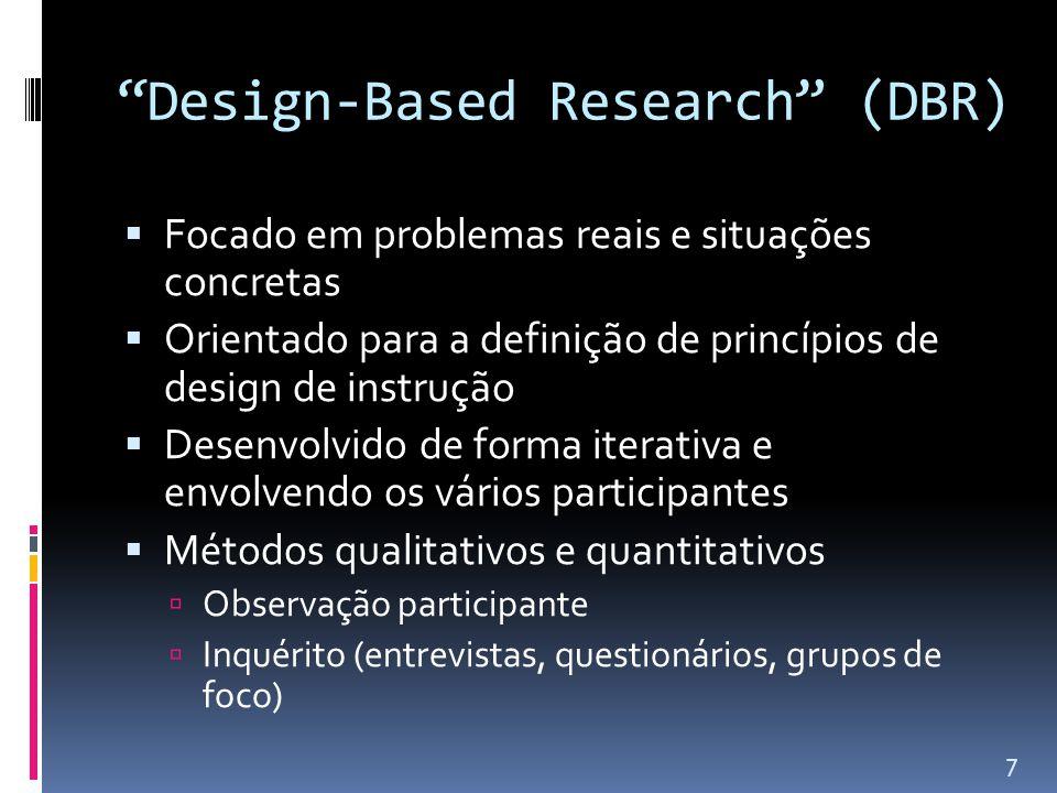 Design-Based Research (DBR)  Focado em problemas reais e situações concretas  Orientado para a definição de princípios de design de instrução  Desenvolvido de forma iterativa e envolvendo os vários participantes  Métodos qualitativos e quantitativos  Observação participante  Inquérito (entrevistas, questionários, grupos de foco) 7