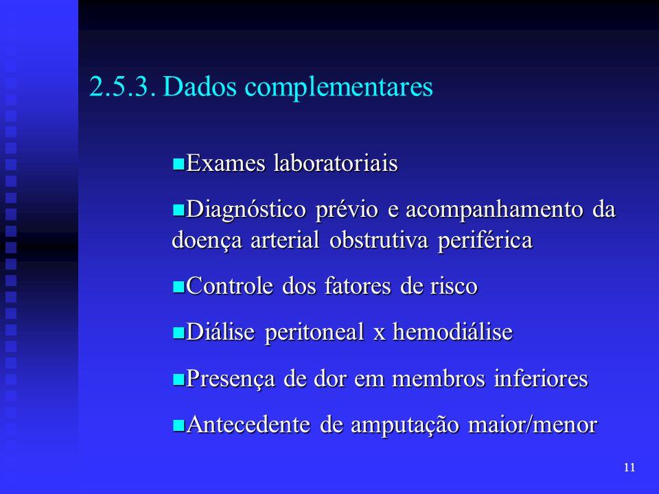 11 2.5.3. Dados complementares Exames laboratoriais Exames laboratoriais Diagnóstico prévio e acompanhamento da doença arterial obstrutiva periférica