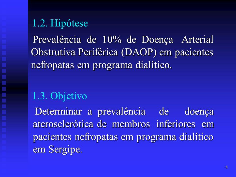 5 1.2. Hipótese Prevalência de 10% de Doença Arterial Obstrutiva Periférica (DAOP) em pacientes nefropatas em programa dialítico. Prevalência de 10% d