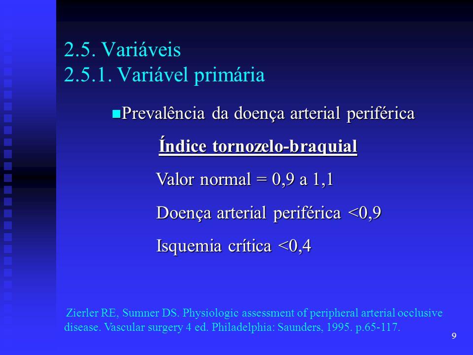 9 2.5. Variáveis 2.5.1. Variável primária Prevalência da doença arterial periférica Prevalência da doença arterial periférica Índice tornozelo-braquia