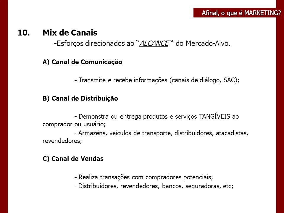 Afinal, o que é MARKETING. 10.Mix de Canais -Esforços direcionados ao ALCANCE do Mercado-Alvo.