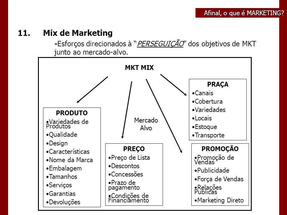 """Afinal, o que é MARKETING? 11.Mix de Marketing -Esforços direcionados à """"PERSEGUIÇÃO"""" dos objetivos de MKT junto ao mercado-alvo. PRODUTO Variedades d"""