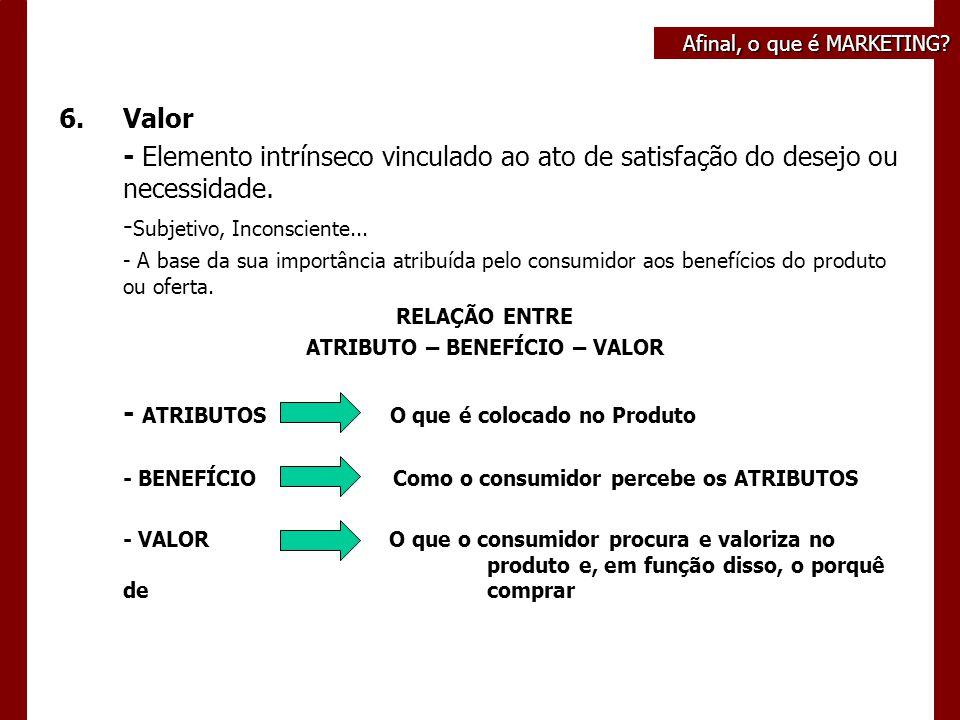 6.Valor - Elemento intrínseco vinculado ao ato de satisfação do desejo ou necessidade.