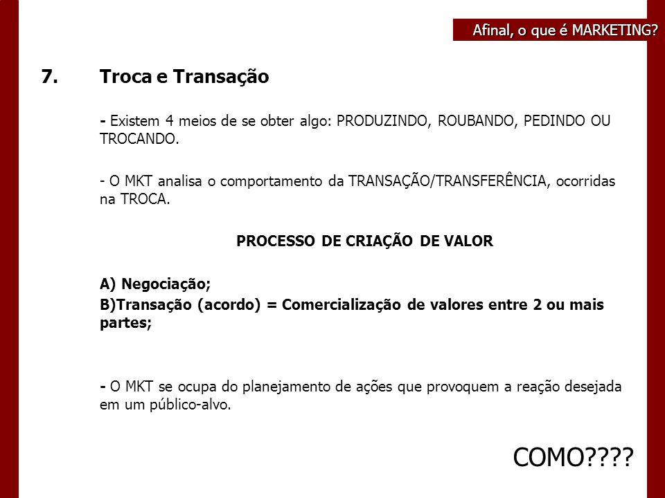 7.Troca e Transação - Existem 4 meios de se obter algo: PRODUZINDO, ROUBANDO, PEDINDO OU TROCANDO.