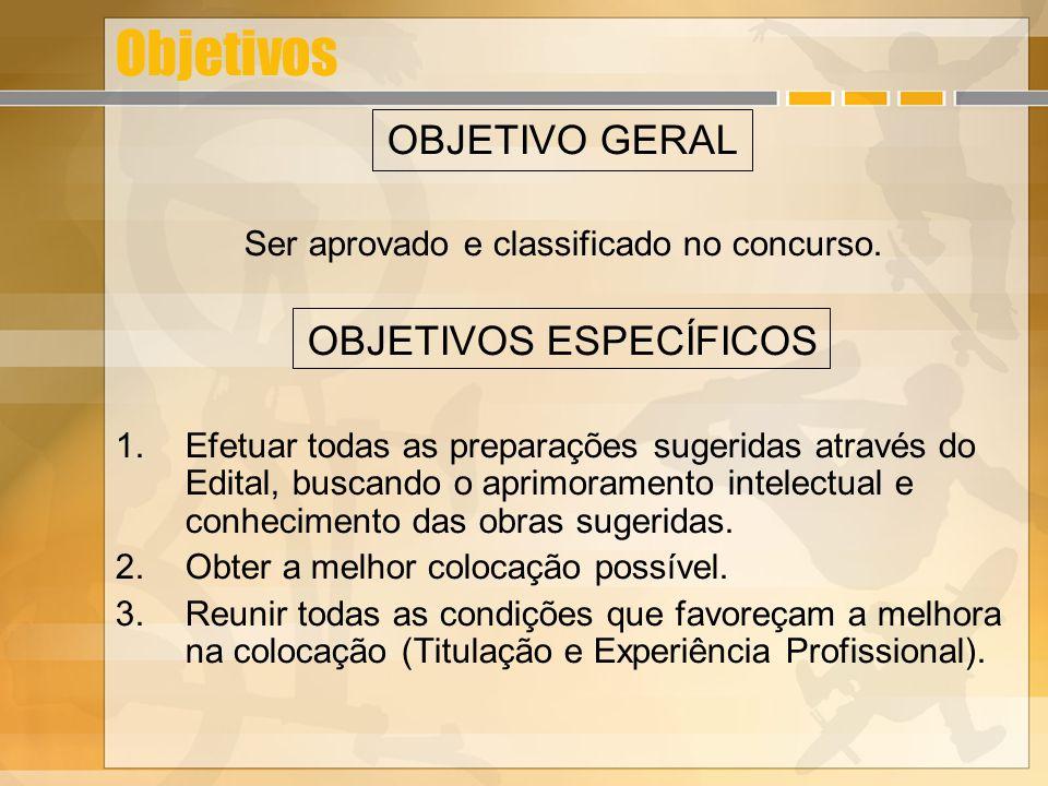 Objetivos OBJETIVO GERAL Ser aprovado e classificado no concurso.