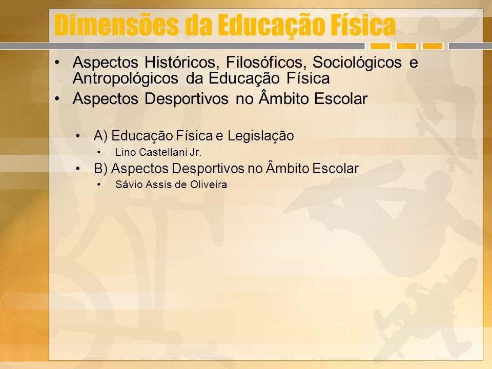 Dimensões da Educação Física Aspectos Históricos, Filosóficos, Sociológicos e Antropológicos da Educação Física Aspectos Desportivos no Âmbito Escolar A) Educação Física e Legislação Lino Castellani Jr.