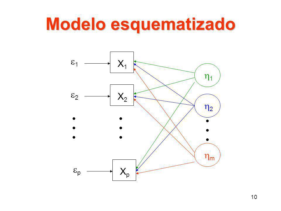 10 Modelo esquematizado X1X1 X2X2 XpXp 11 22 pp 11 22 mm