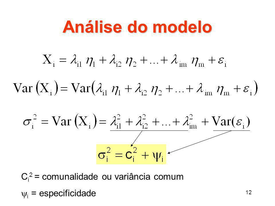 12 Análise do modelo C i 2 = comunalidade ou variância comum  i = especificidade