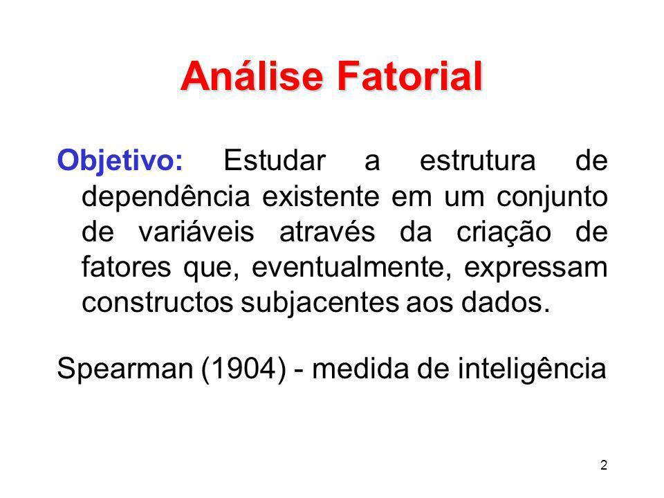 2 Análise Fatorial Objetivo: Estudar a estrutura de dependência existente em um conjunto de variáveis através da criação de fatores que, eventualmente