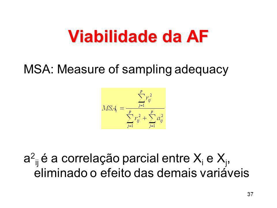 37 Viabilidade da AF MSA: Measure of sampling adequacy a 2 ij é a correlação parcial entre X i e X j, eliminado o efeito das demais variáveis