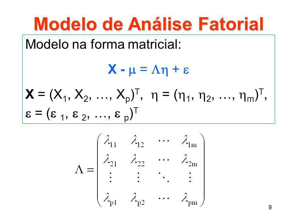 9 Modelo de Análise Fatorial Modelo na forma matricial: X -  =  +  X = (X 1, X 2, …, X p ) T,  = (  1,  2, …,  m ) T,  = (  1,  2, …,  p )