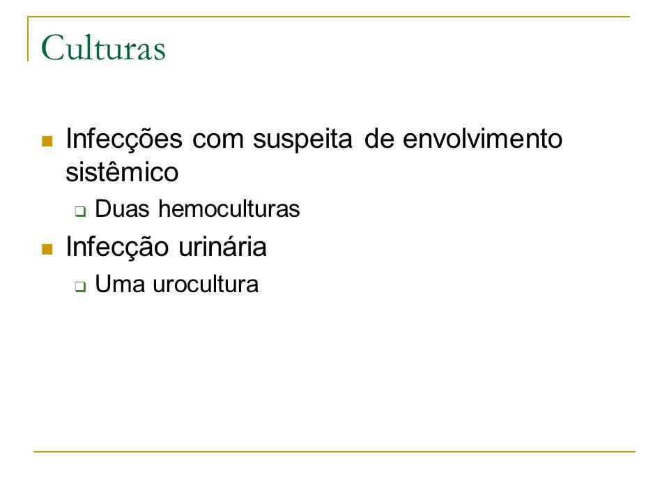 Culturas Infecções com suspeita de envolvimento sistêmico  Duas hemoculturas Infecção urinária  Uma urocultura