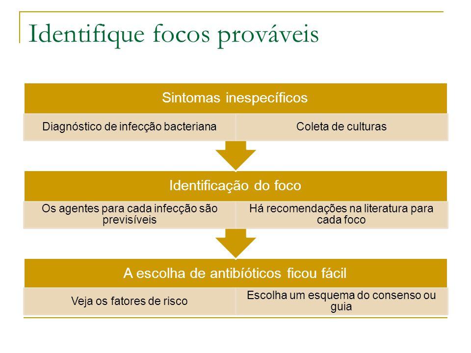Identifique focos prováveis A escolha de antibíóticos ficou fácil Veja os fatores de risco Escolha um esquema do consenso ou guia Identificação do foc