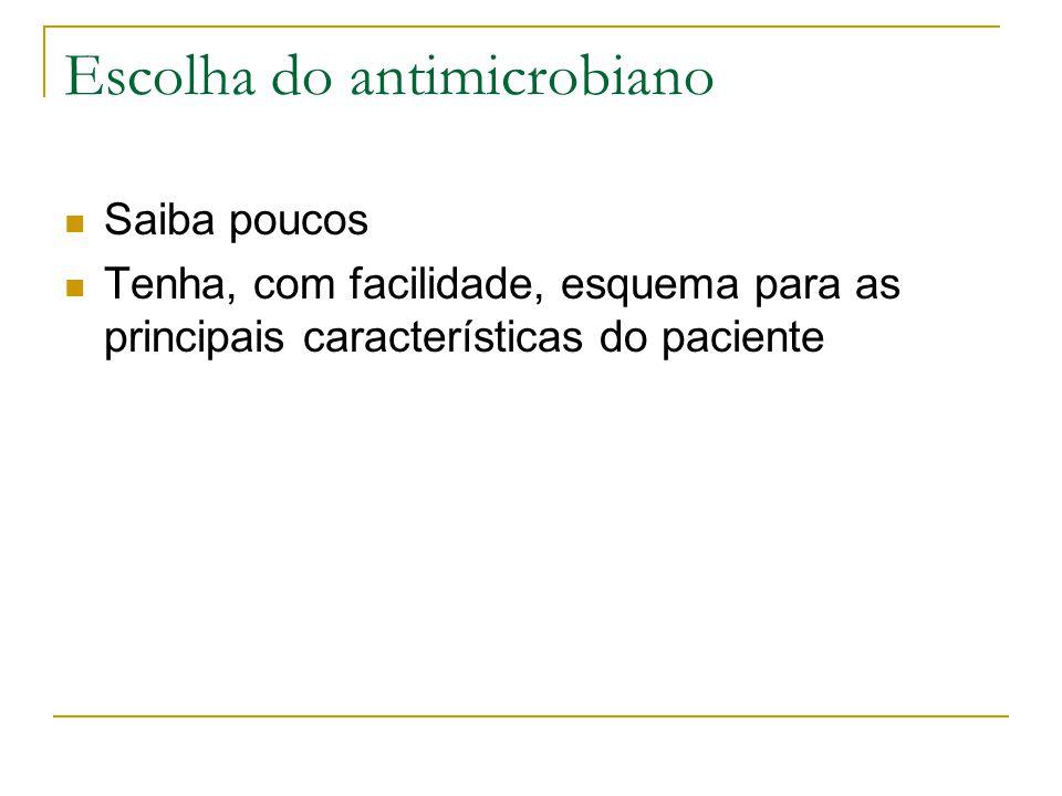 Escolha do antimicrobiano Saiba poucos Tenha, com facilidade, esquema para as principais características do paciente