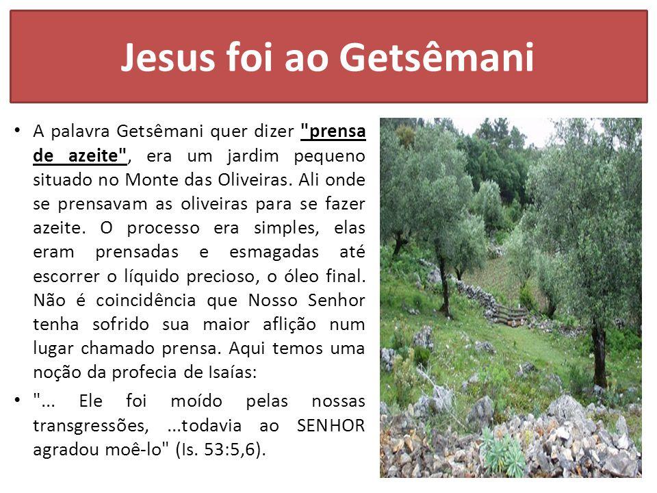 Jesus foi ao Getsêmani A palavra Getsêmani quer dizer