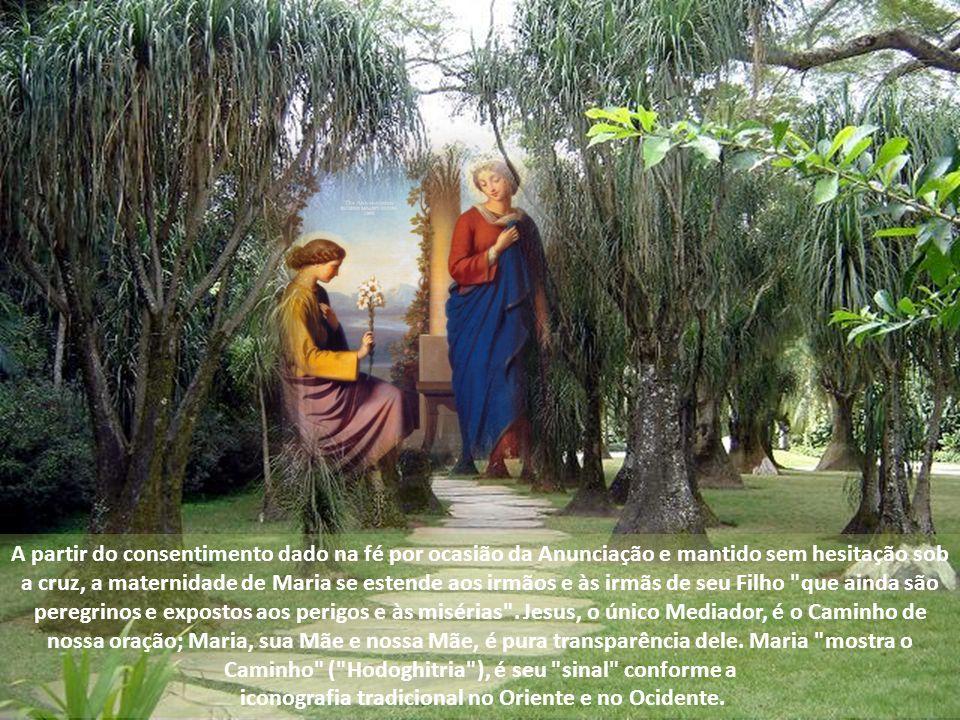 A partir do consentimento dado na fé por ocasião da Anunciação e mantido sem hesitação sob a cruz, a maternidade de Maria se estende aos irmãos e às irmãs de seu Filho que ainda são peregrinos e expostos aos perigos e às misérias .