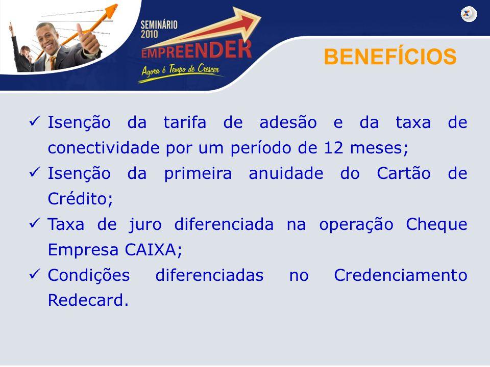 BENEFÍCIOS Isenção da tarifa de adesão e da taxa de conectividade por um período de 12 meses; Isenção da primeira anuidade do Cartão de Crédito; Taxa