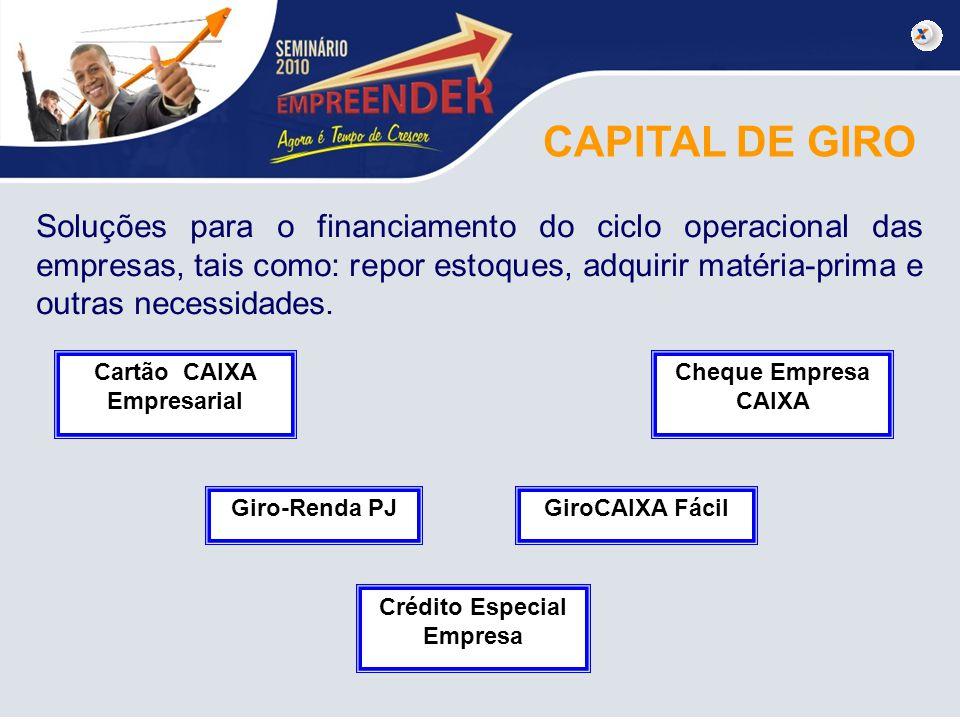 CAPITAL DE GIRO Soluções para o financiamento do ciclo operacional das empresas, tais como: repor estoques, adquirir matéria-prima e outras necessidad
