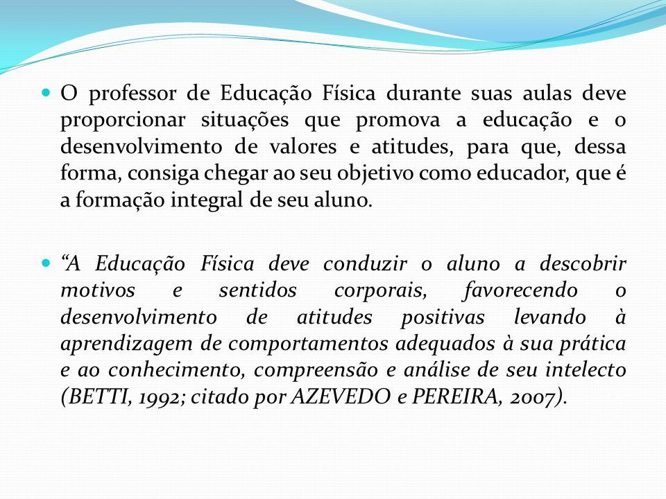 O professor de Educação Física durante suas aulas deve proporcionar situações que promova a educação e o desenvolvimento de valores e atitudes, para q