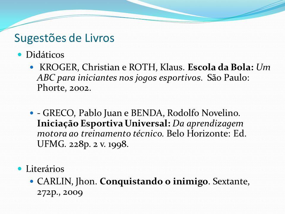 Sugestões de Livros Didáticos KROGER, Christian e ROTH, Klaus. Escola da Bola: Um ABC para iniciantes nos jogos esportivos. São Paulo: Phorte, 2002. -