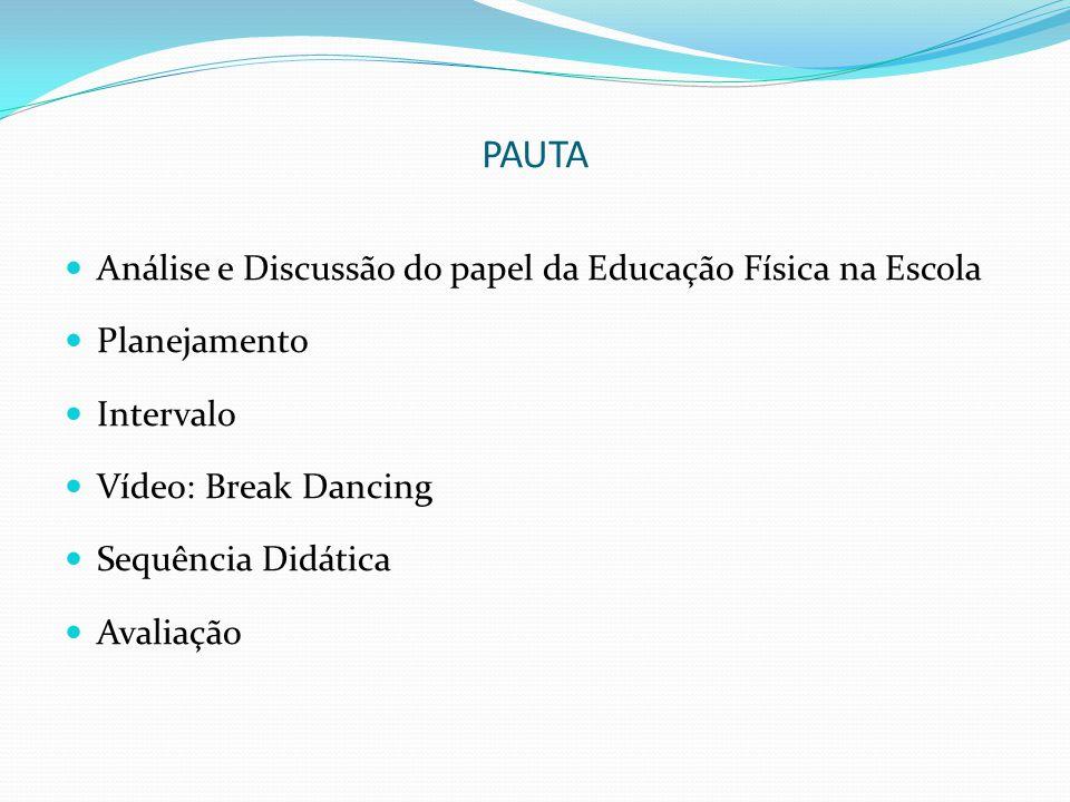 PAUTA Análise e Discussão do papel da Educação Física na Escola Planejamento Intervalo Vídeo: Break Dancing Sequência Didática Avaliação