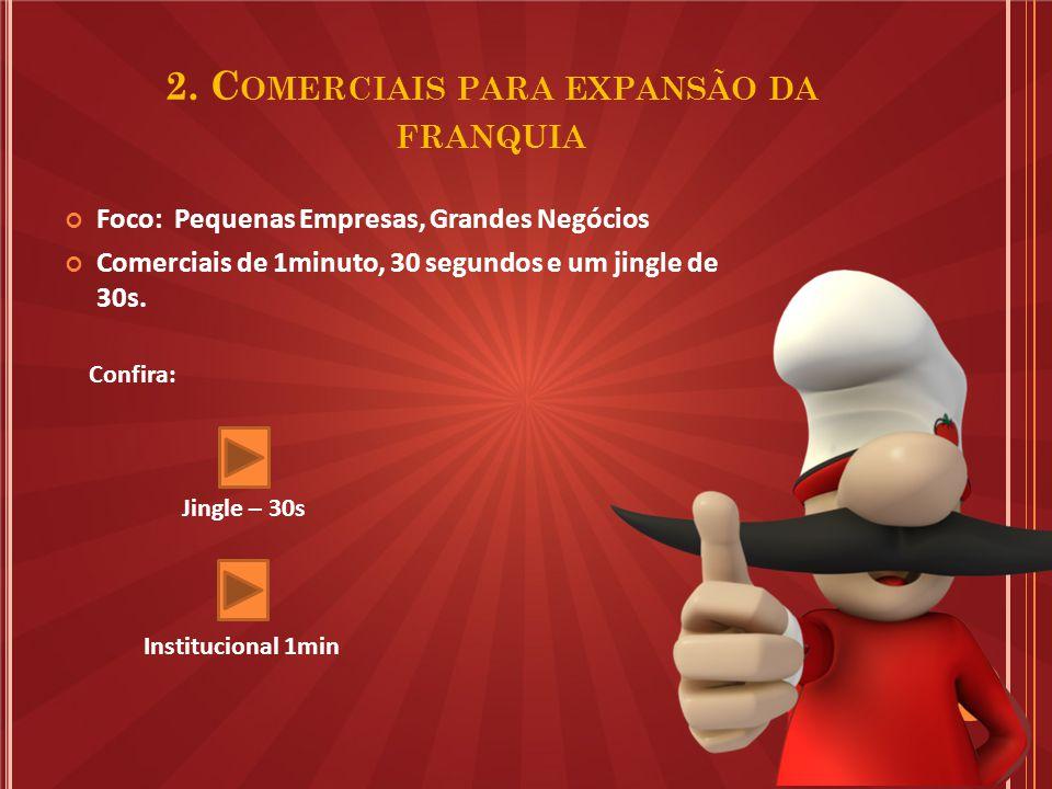 2. C OMERCIAIS PARA EXPANSÃO DA FRANQUIA Foco: Pequenas Empresas, Grandes Negócios Comerciais de 1minuto, 30 segundos e um jingle de 30s. Confira: Jin