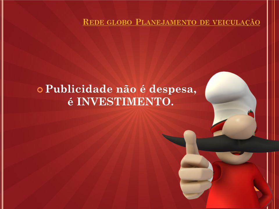 Publicidade não é despesa, é INVESTIMENTO. R EDE GLOBO P LANEJAMENTO DE VEICULAÇÃO