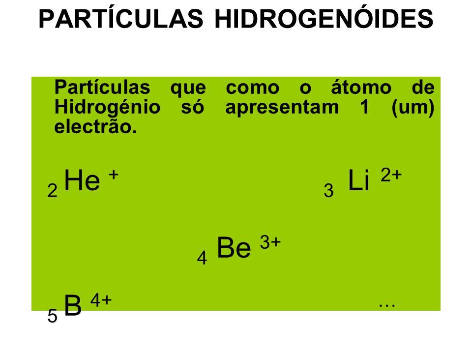 PARTÍCULAS HIDROGENÓIDES Partículas que como o átomo de Hidrogénio só apresentam 1 (um) electrão. 2 He + 3 Li 2+ 4 Be 3+ 5 B 4+ …