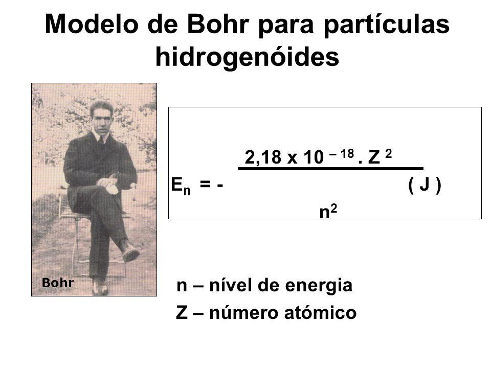 Modelo de Bohr para partículas hidrogenóides 2,18 x 10 – 18. Z 2 E n = - ( J ) n 2 n – nível de energia Z – número atómico Bohr