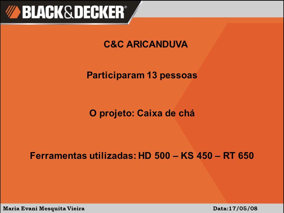 Maria Evani Mesquita Vieira Data:17/05/08 C&C ARICANDUVA Participaram 13 pessoas O projeto: Caixa de chá Ferramentas utilizadas: HD 500 – KS 450 – RT 650
