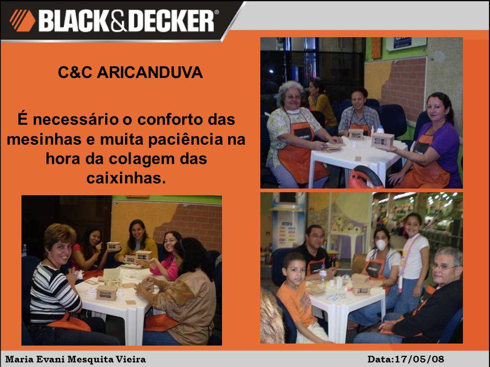 Maria Evani Mesquita Vieira Data:17/05/08 C&C ARICANDUVA Enfim, todos felizes com suas peças e pela tarde de aprendizado e distração.