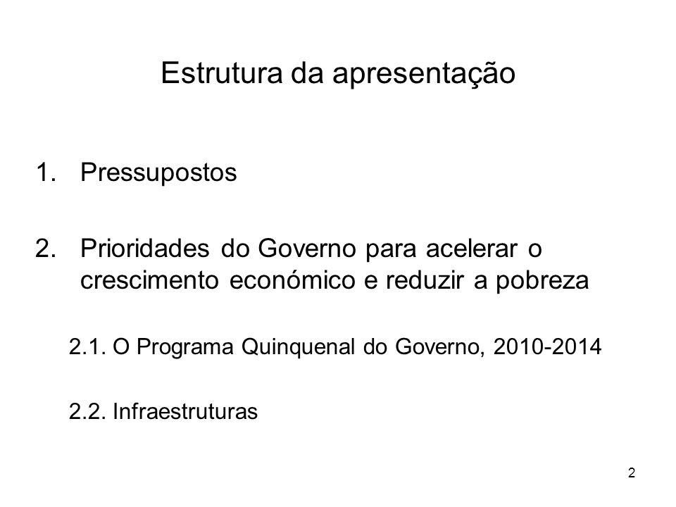 2 Estrutura da apresentação 1.Pressupostos 2.Prioridades do Governo para acelerar o crescimento económico e reduzir a pobreza 2.1.