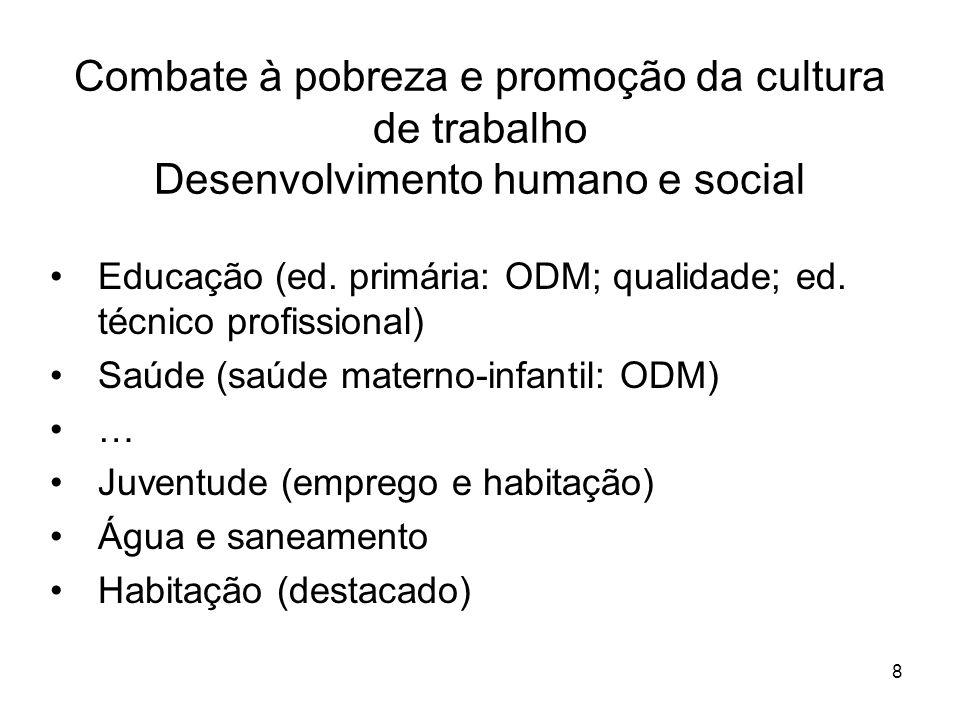 8 Combate à pobreza e promoção da cultura de trabalho Desenvolvimento humano e social Educação (ed.