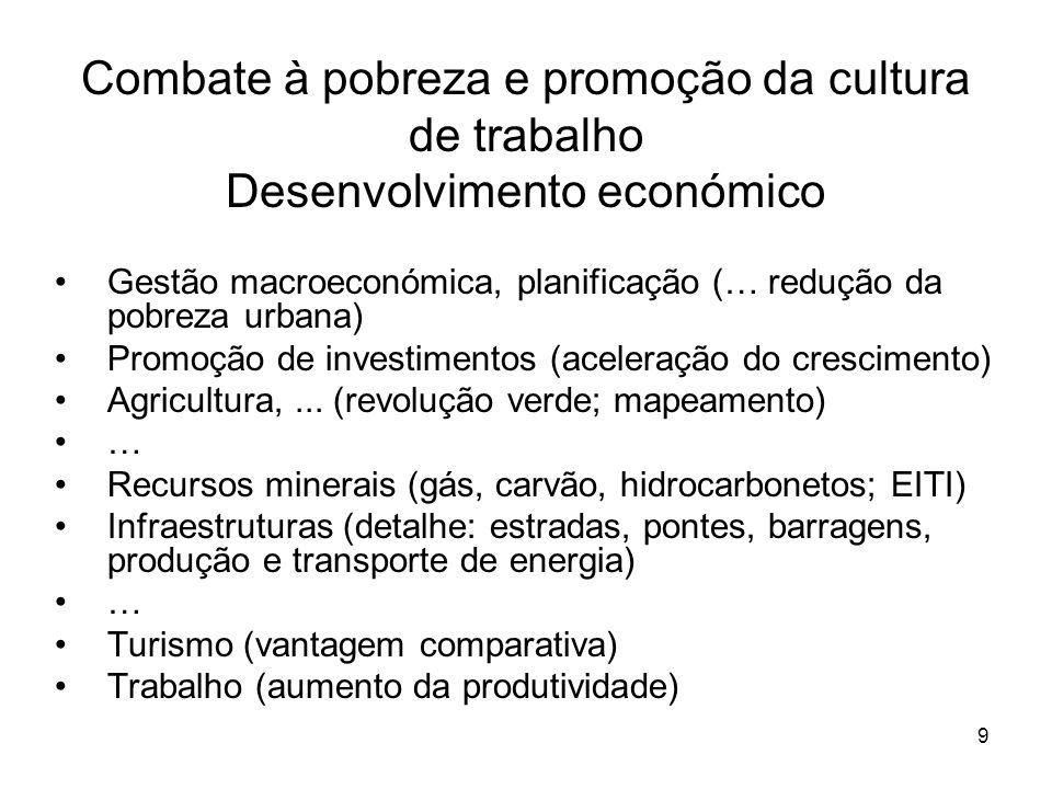 9 Combate à pobreza e promoção da cultura de trabalho Desenvolvimento económico Gestão macroeconómica, planificação (… redução da pobreza urbana) Promoção de investimentos (aceleração do crescimento) Agricultura,...