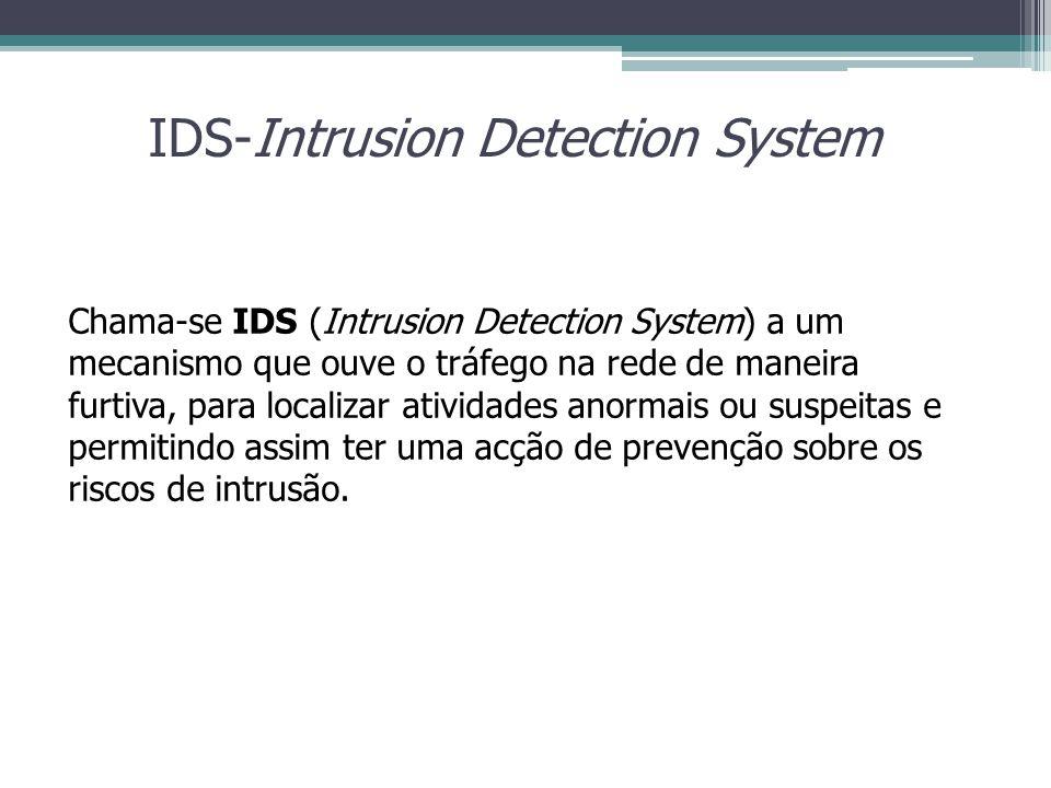 IDS-Intrusion Detection System Chama-se IDS (Intrusion Detection System) a um mecanismo que ouve o tráfego na rede de maneira furtiva, para localizar