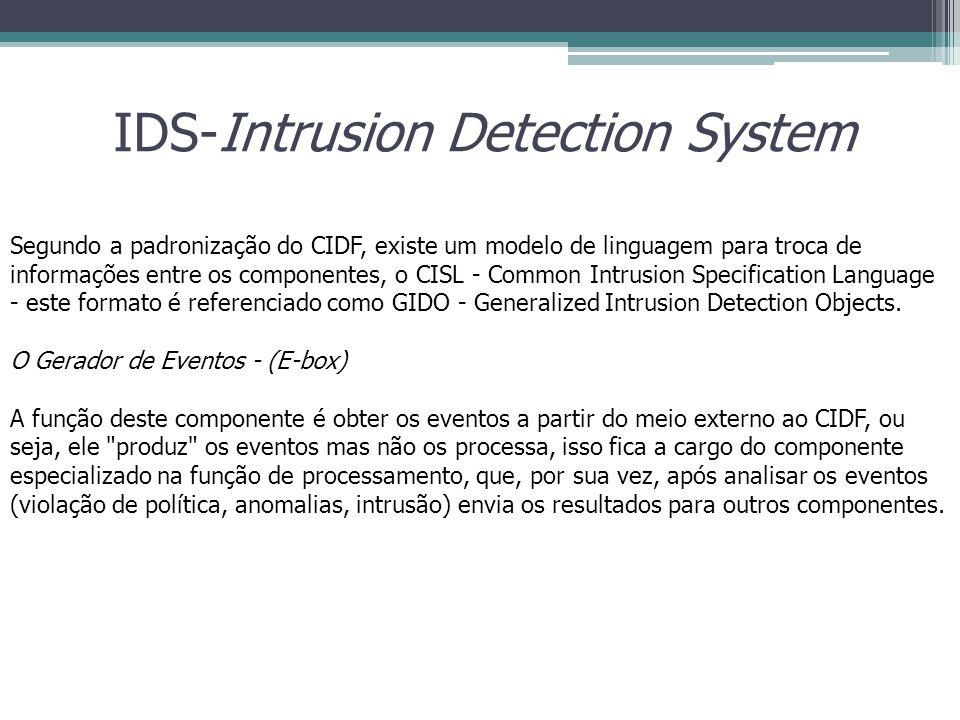 IDS-Intrusion Detection System Segundo a padronização do CIDF, existe um modelo de linguagem para troca de informações entre os componentes, o CISL -