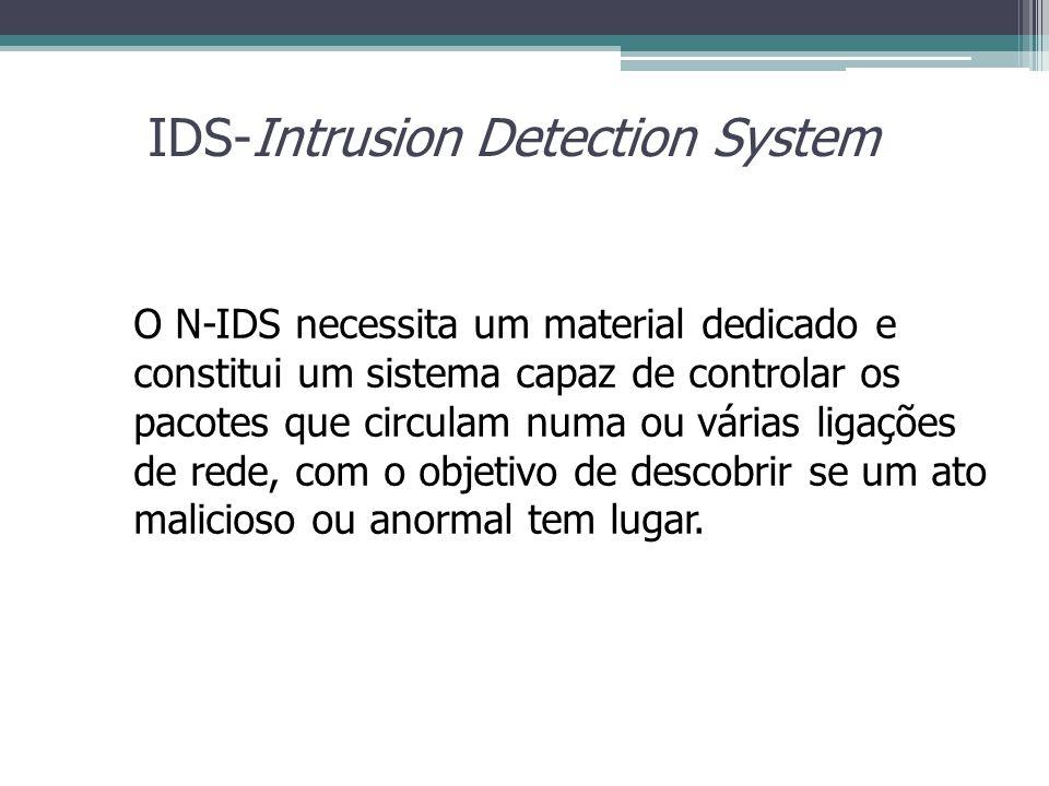 IDS-Intrusion Detection System O N-IDS necessita um material dedicado e constitui um sistema capaz de controlar os pacotes que circulam numa ou várias