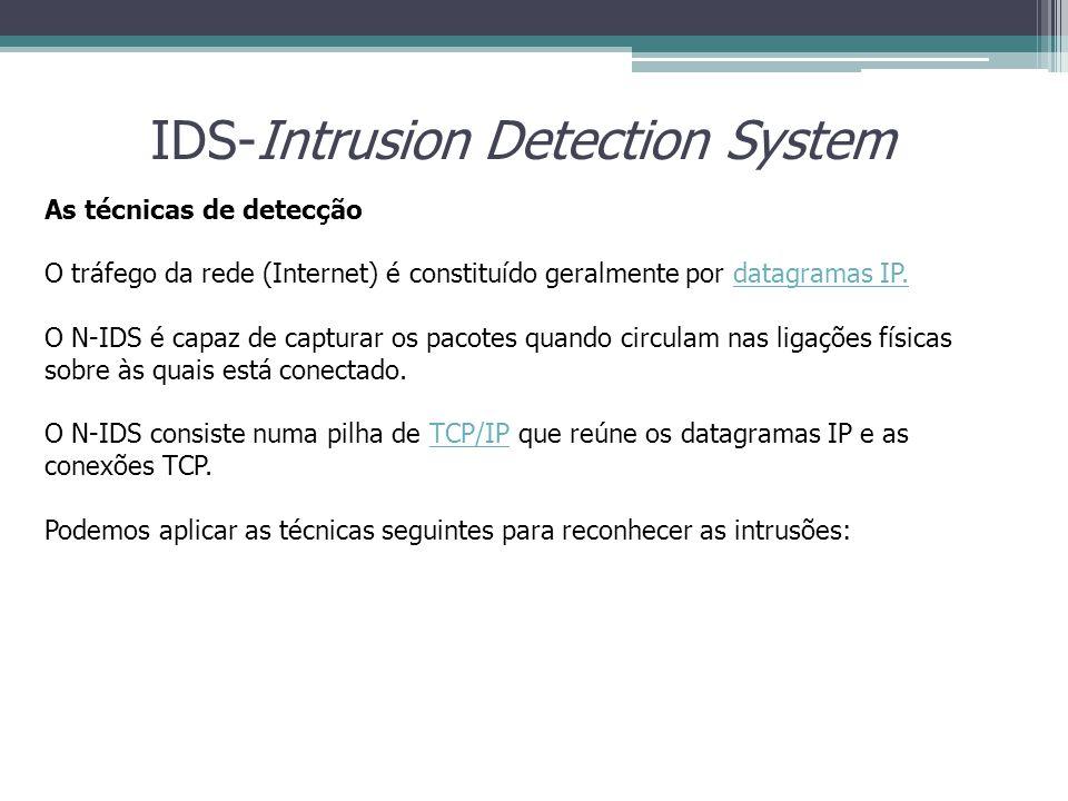 IDS-Intrusion Detection System As técnicas de detecção O tráfego da rede (Internet) é constituído geralmente por datagramas IP.datagramas IP. O N-IDS