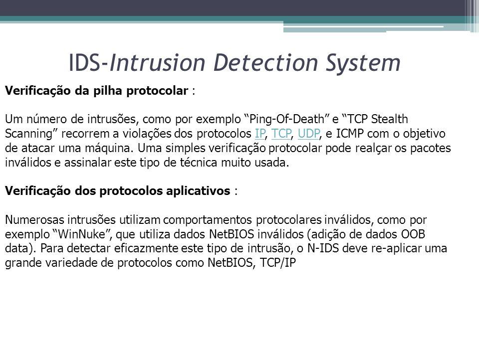 """IDS-Intrusion Detection System Verificação da pilha protocolar : Um número de intrusões, como por exemplo """"Ping-Of-Death"""" e """"TCP Stealth Scanning"""" rec"""