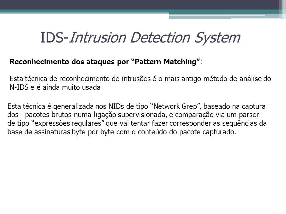 "IDS-Intrusion Detection System Reconhecimento dos ataques por ""Pattern Matching"": Esta técnica de reconhecimento de intrusões é o mais antigo método d"