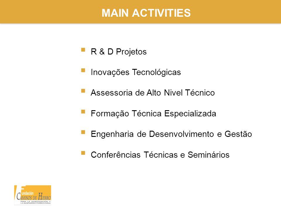 MAIN ACTIVITIES  R & D Projetos  Inovações Tecnológicas  Assessoria de Alto Nivel Técnico  Formação Técnica Especializada  Engenharia de Desenvolvimento e Gestão  Conferências Técnicas e Seminários